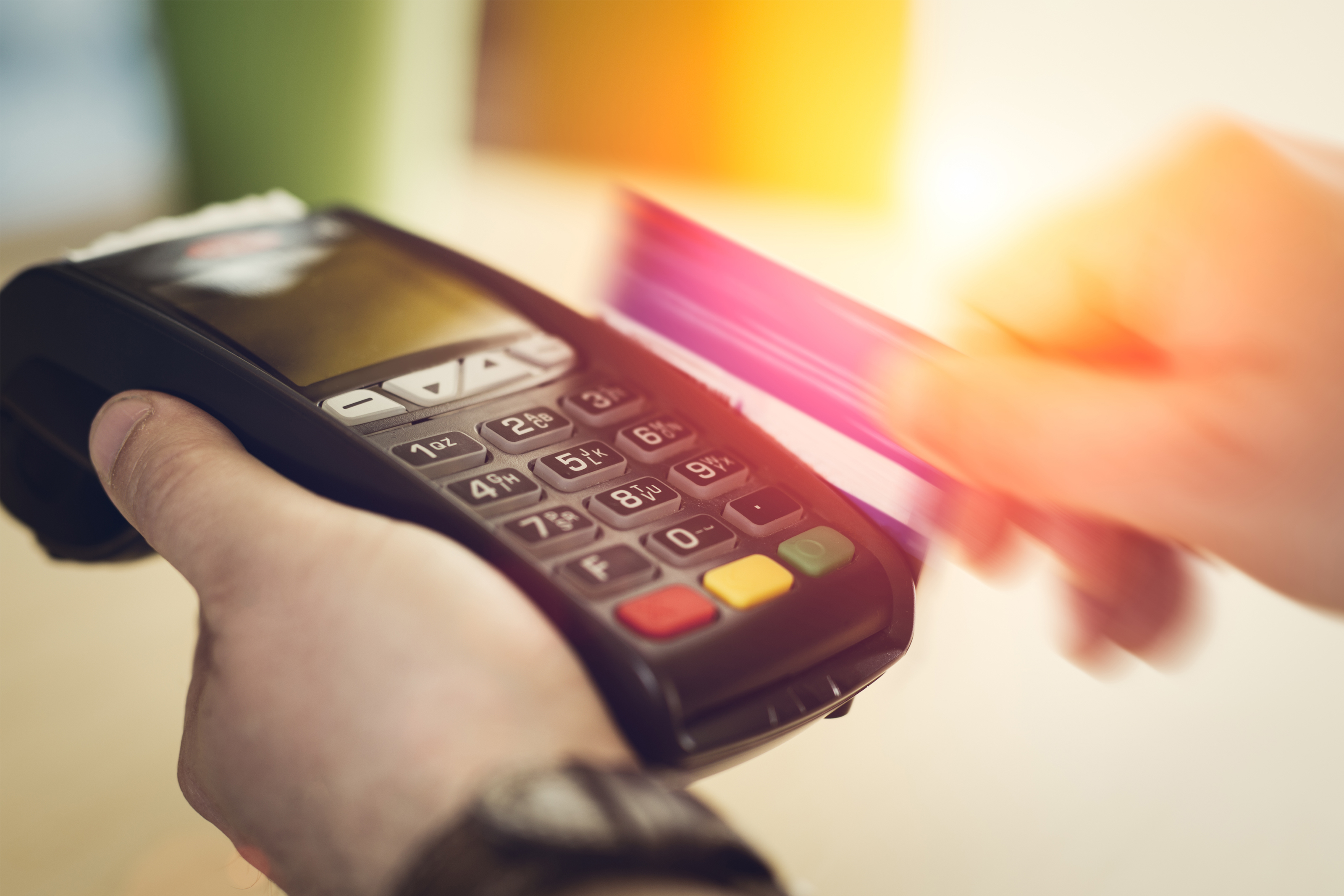 Paying with a credit card at a store