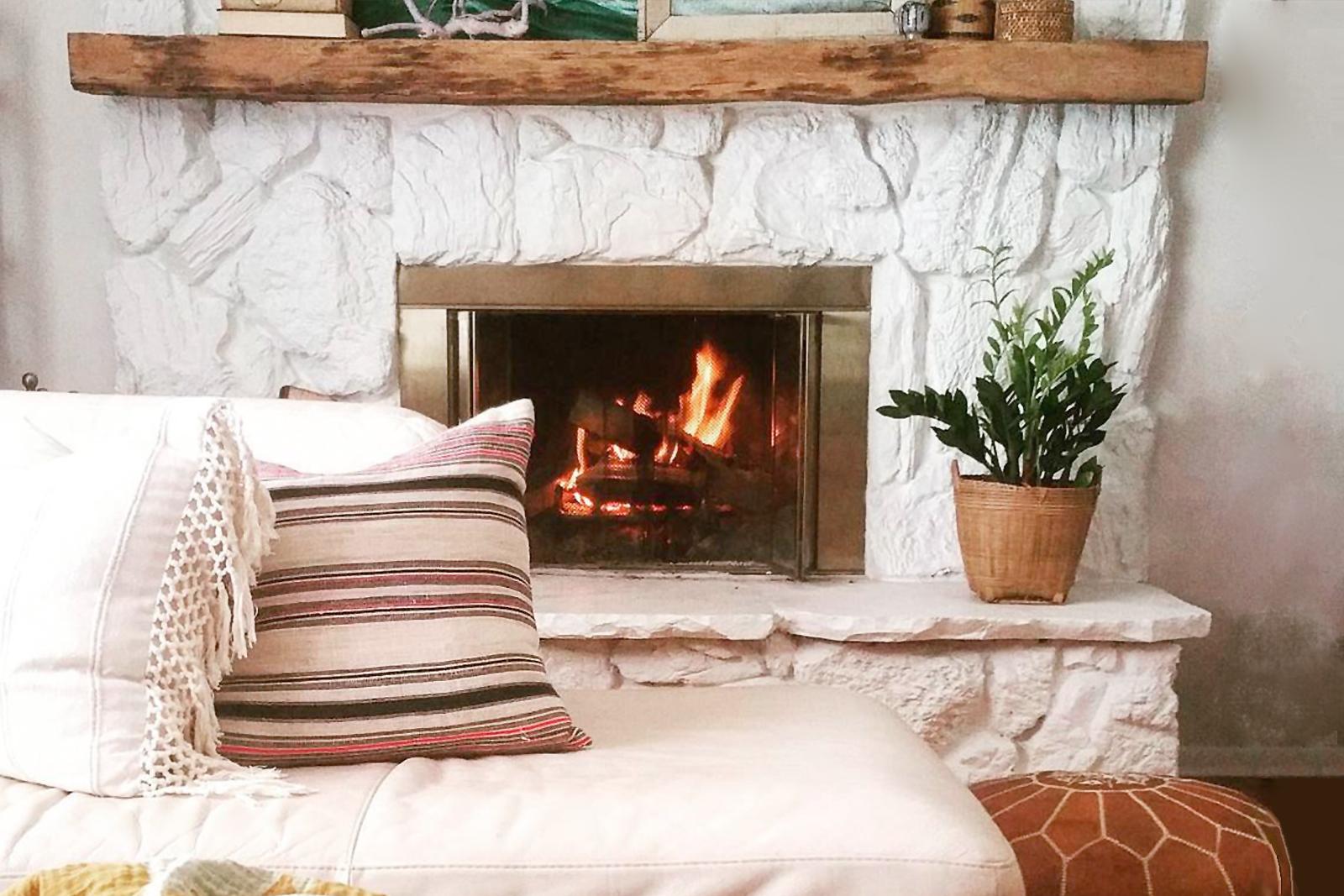 Light-filled living room in winter