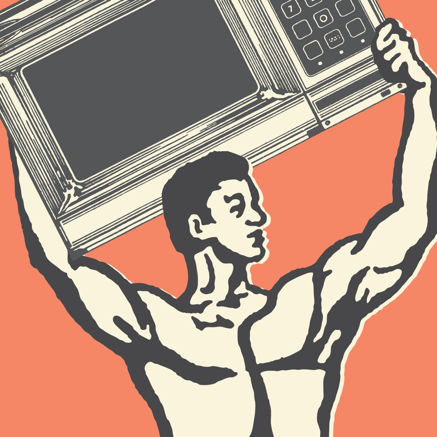 Illustration of strongman holding microwave above his head