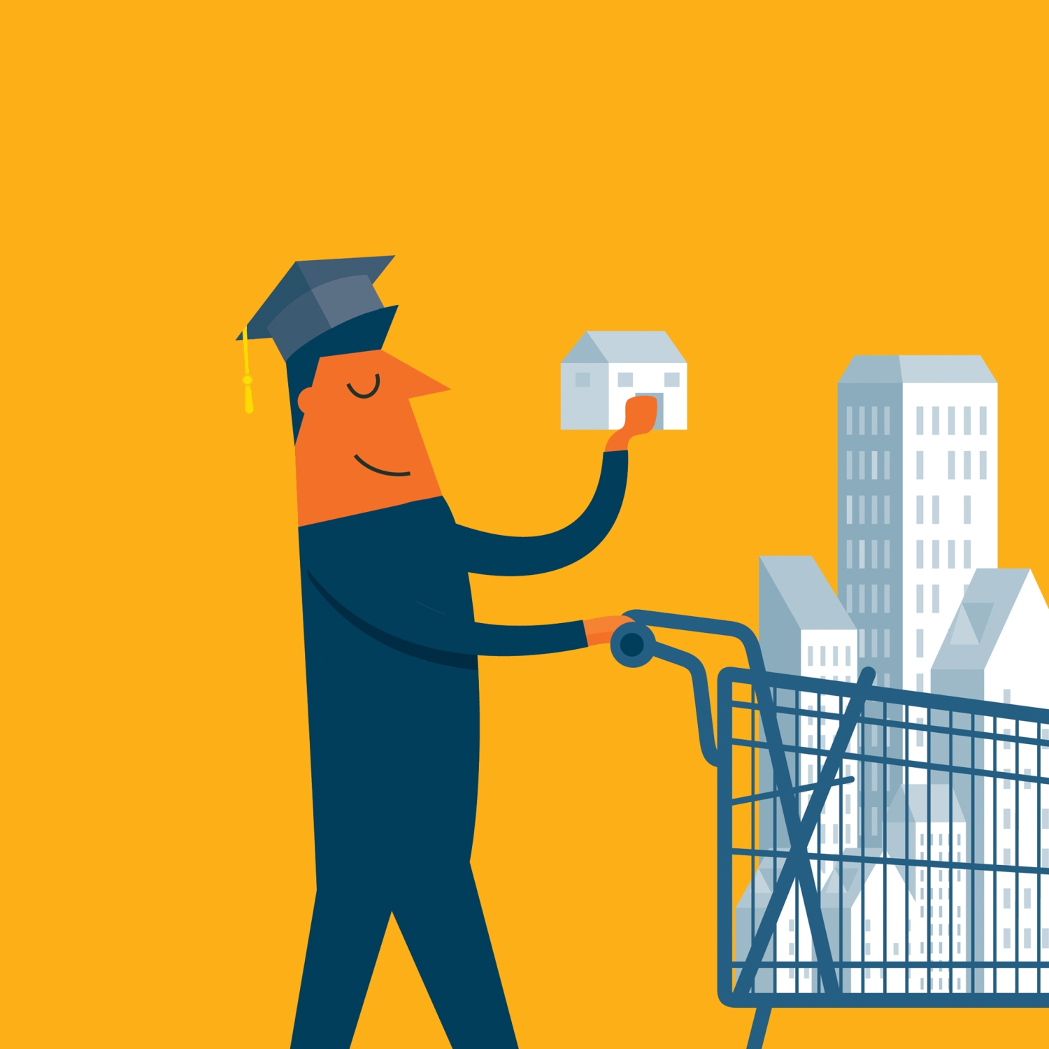 Illustration of graduate with shopping cart full of property