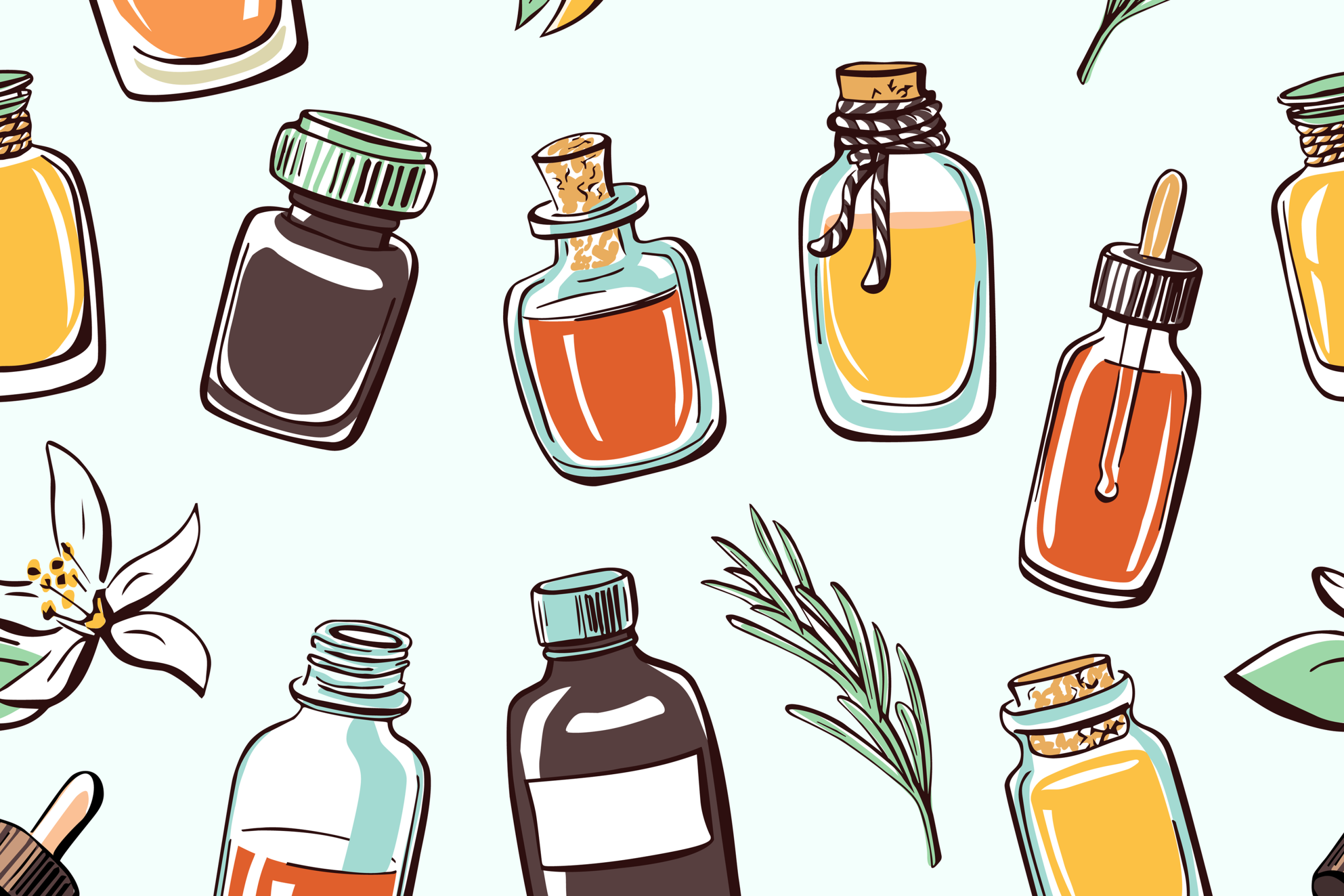 Illustration of essential oils for DIY cleaning products