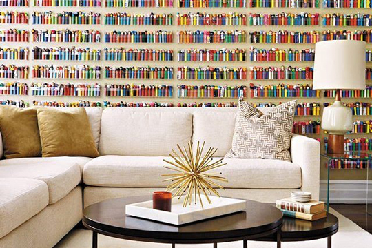 A living room with a Pez accent wall