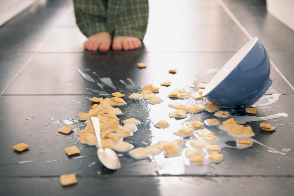 Bowl dropping to the floor in a home kitchen