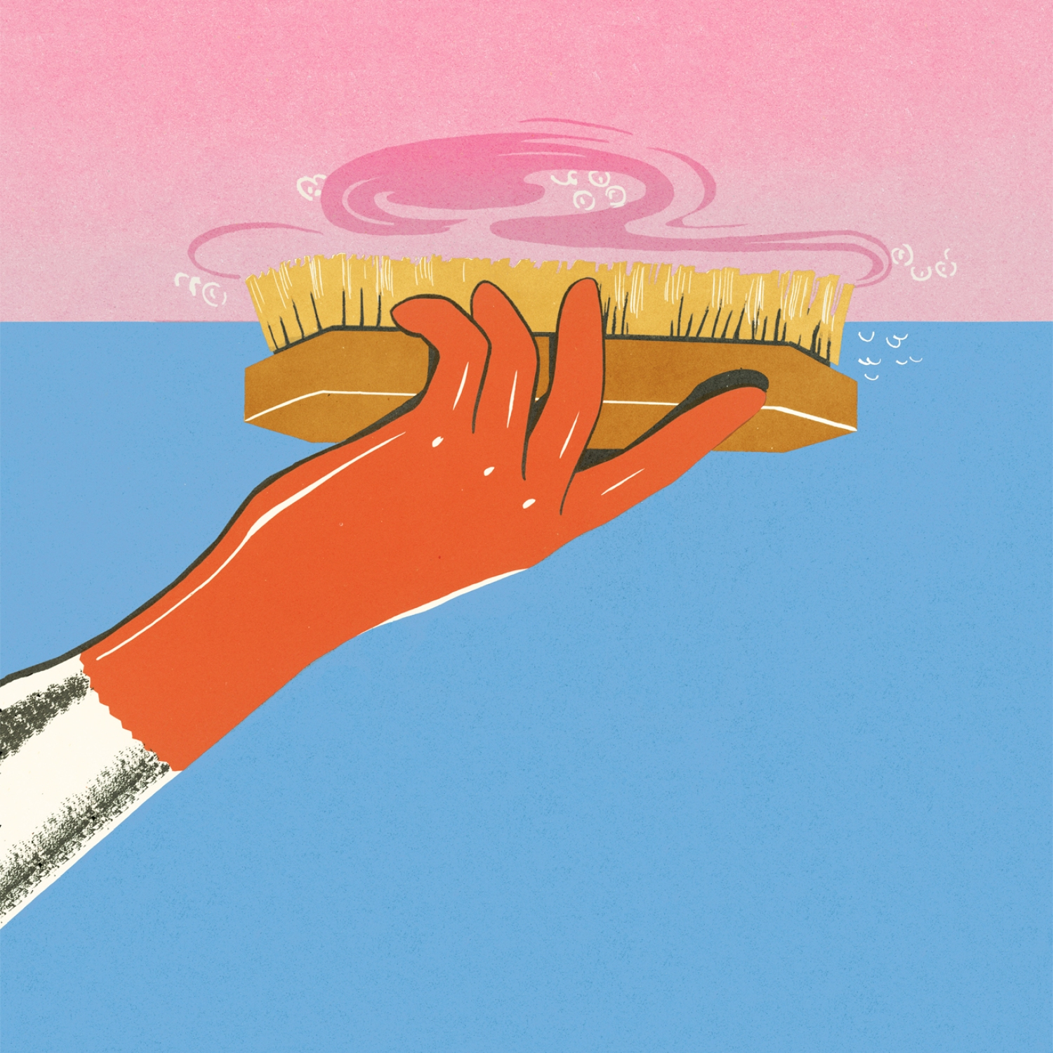 Illustration of person scrubbing a ceiling