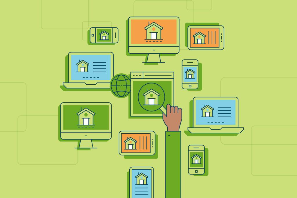 Shopping for houses online illustration