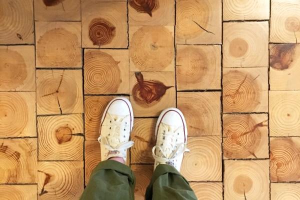 An above shot of end-grain flooring
