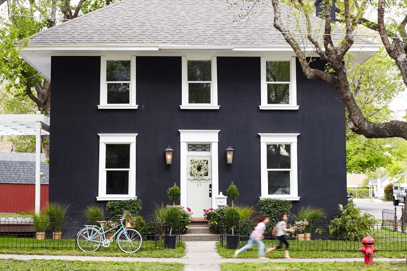 Home with dark painted exterior