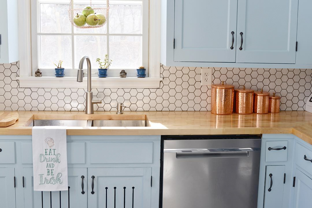 Newly renovated kitchen with hex tile backsplash