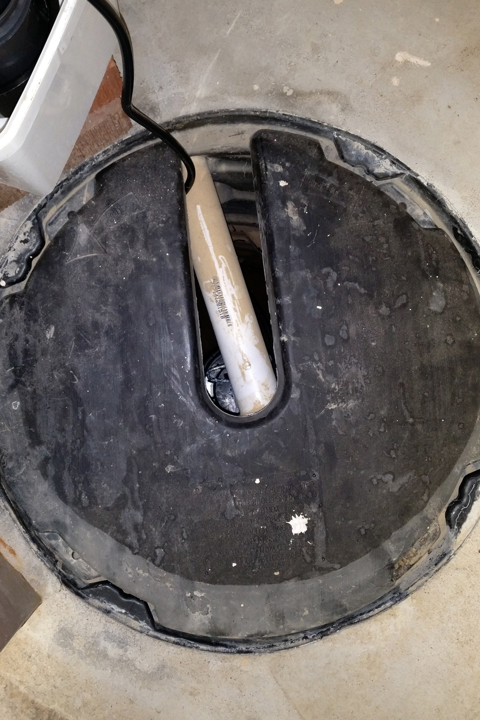 Sump pump with cover in basement
