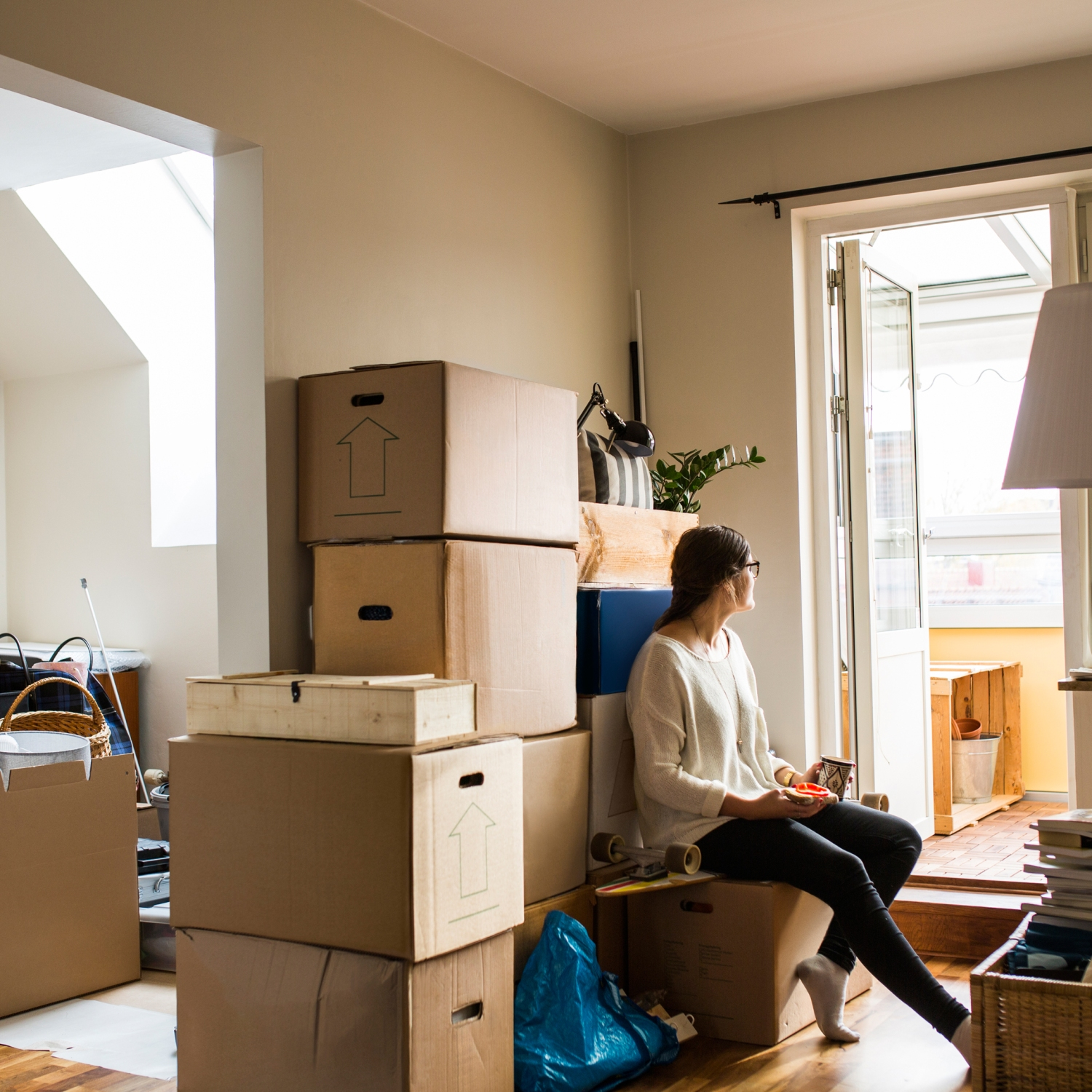 Woman moving to a new house