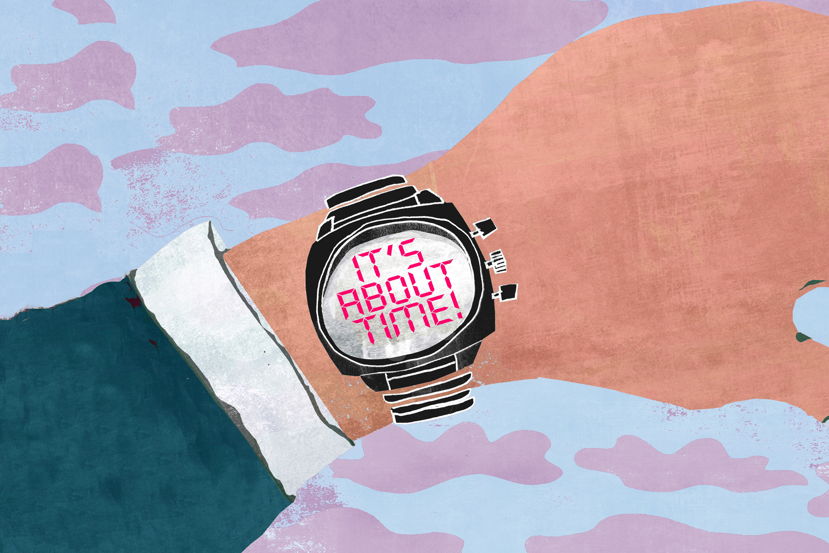 Getting ready for fall illustration with wristwatch