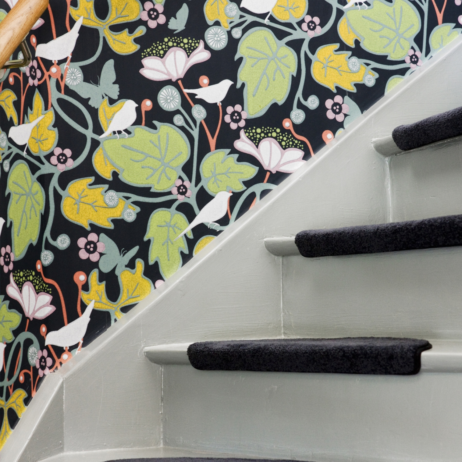 Instagram-worthy stairs with bold wallpaper