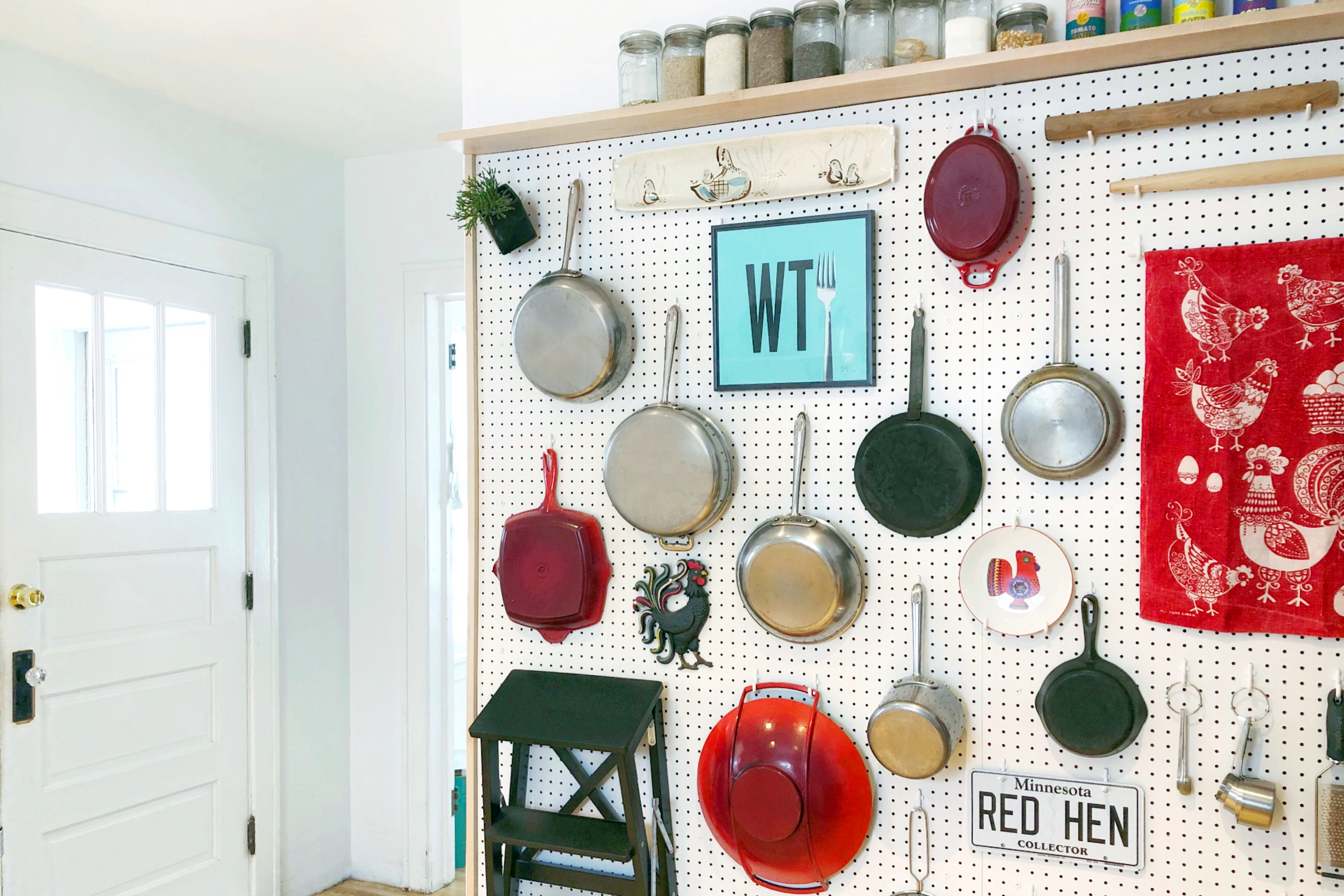 Using a kitchen pegboard for home organization
