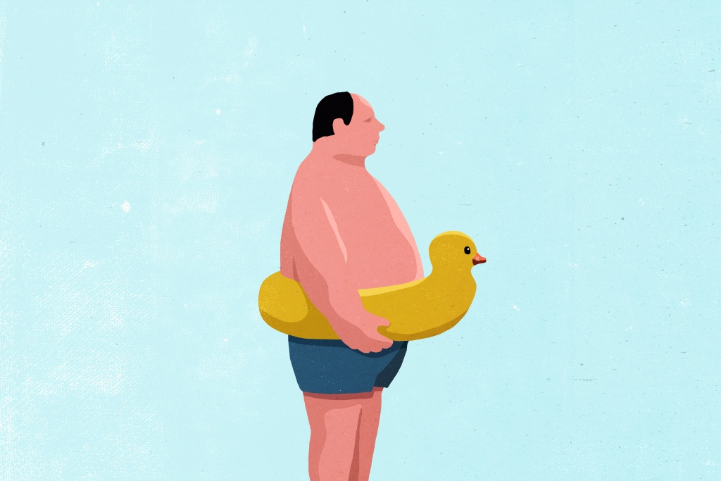 Man with swim float illustration