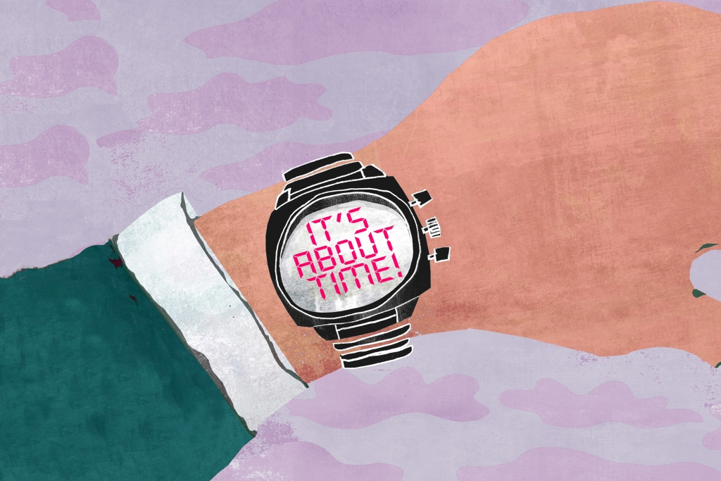 Illustration of arm with wristwatch preparing for wintertime