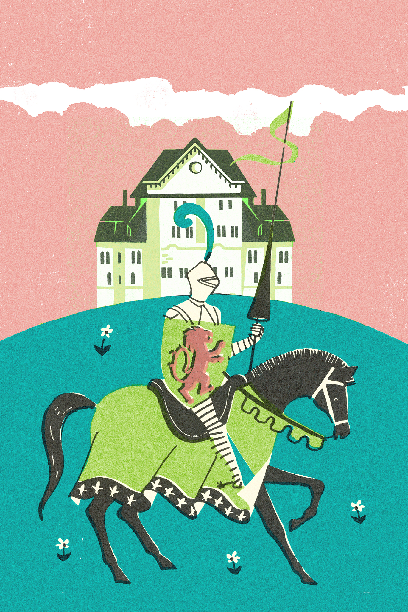 1950s image of a medieval knight in front of a large house