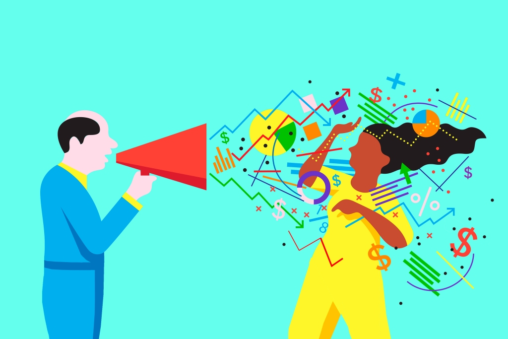 Illustration of man with megaphone shouting numbers at woman