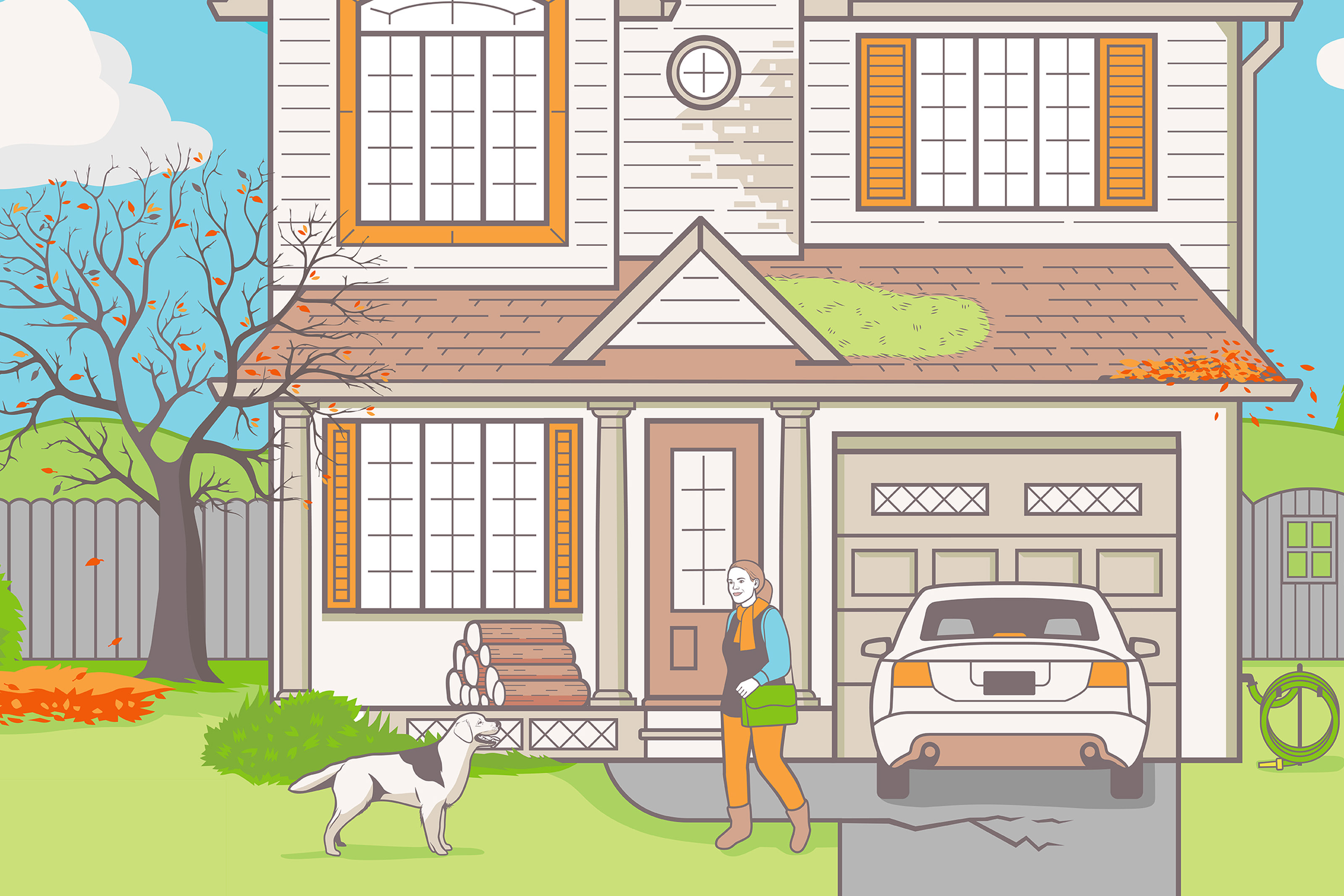 Illustration of happy woman with dog leaving house