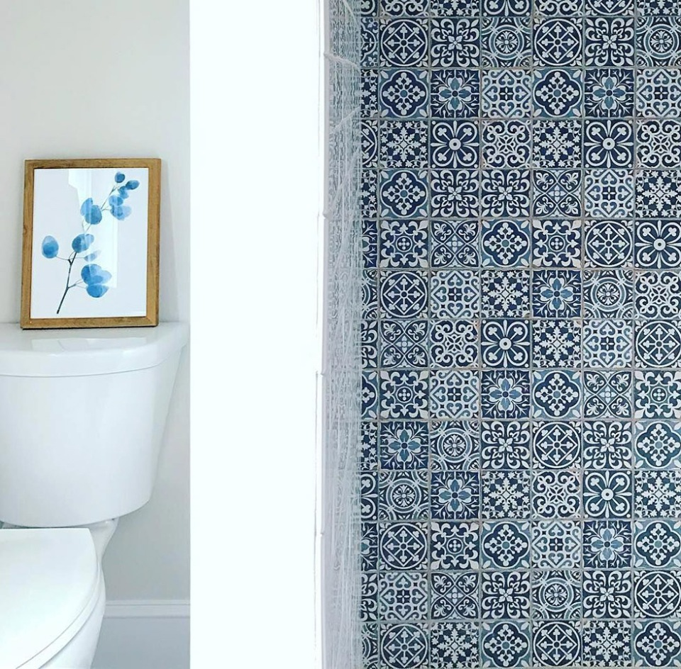 Blue and white patterned tiles covering wall beside toilet