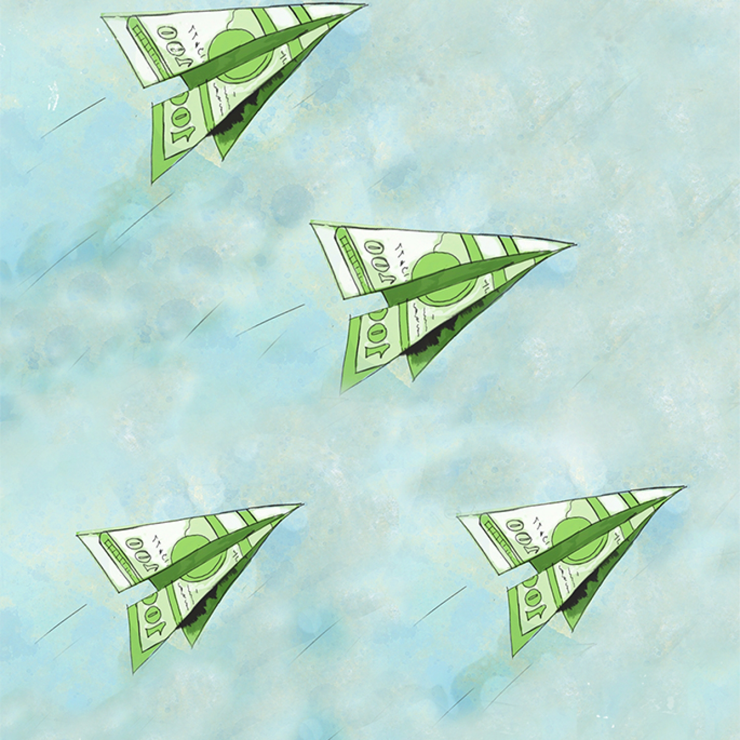 Four paper airplanes made from dollar bills | ROI