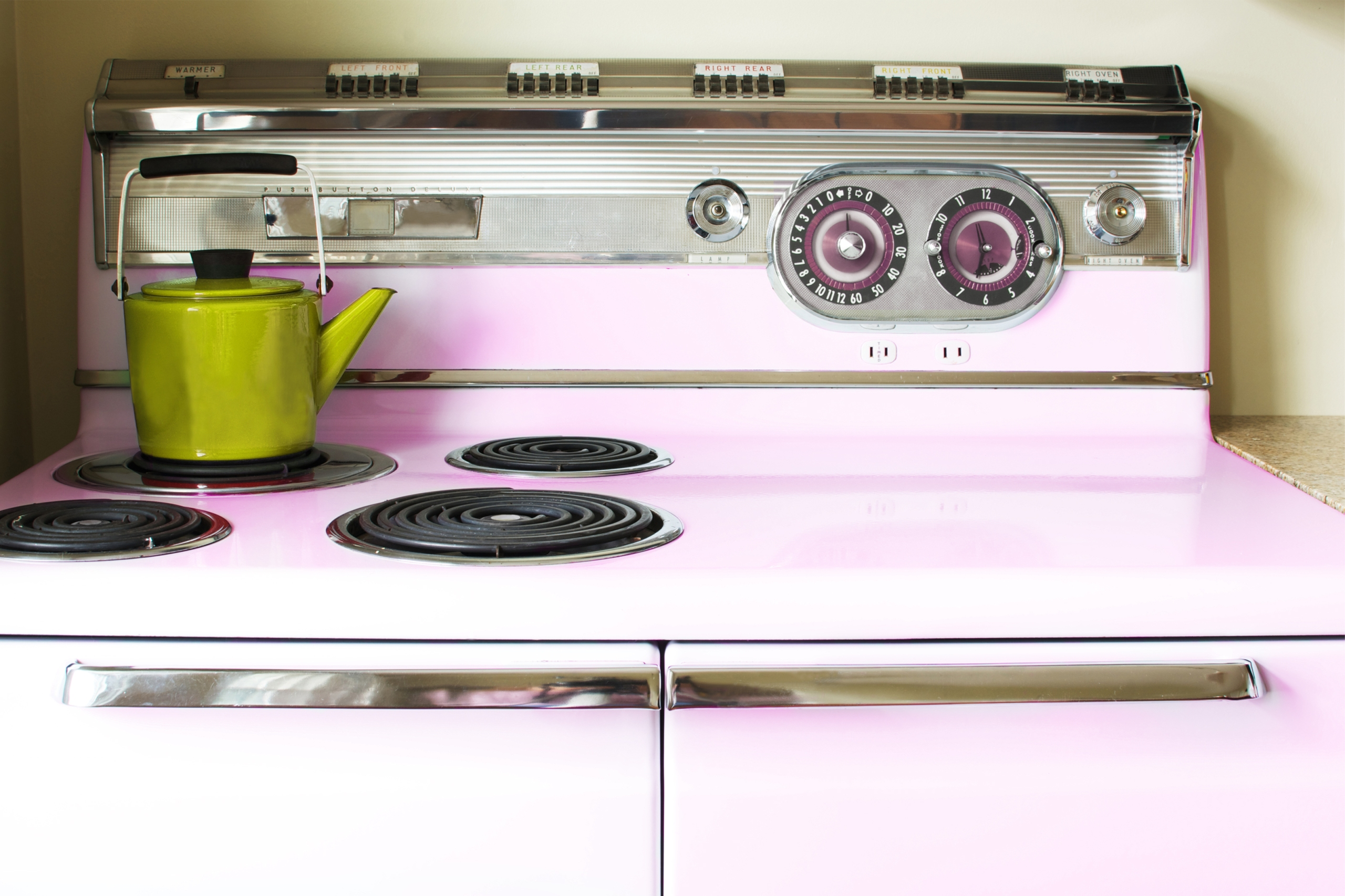 Vintage pink appliance in a home kitchen