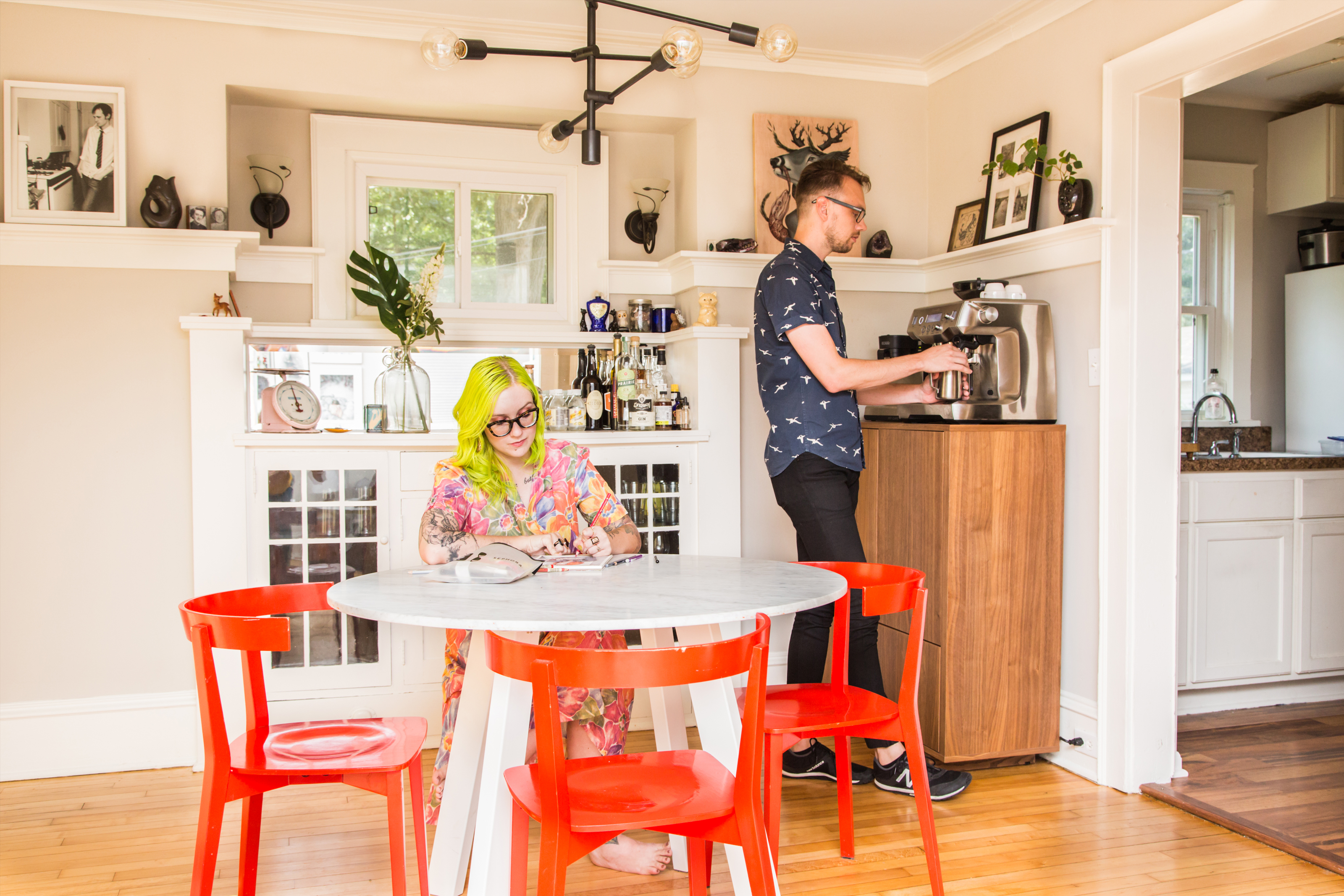 Kaitlin Wadley and Bryce Bordenkecher in their dining room