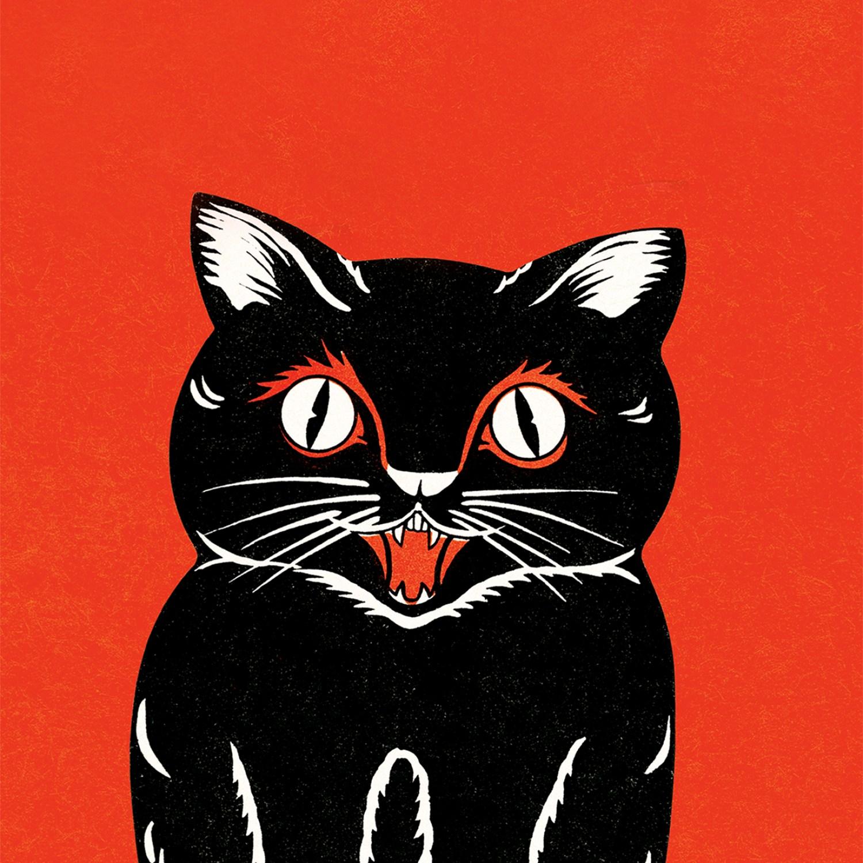Retro illustration of black cat on orange-red background