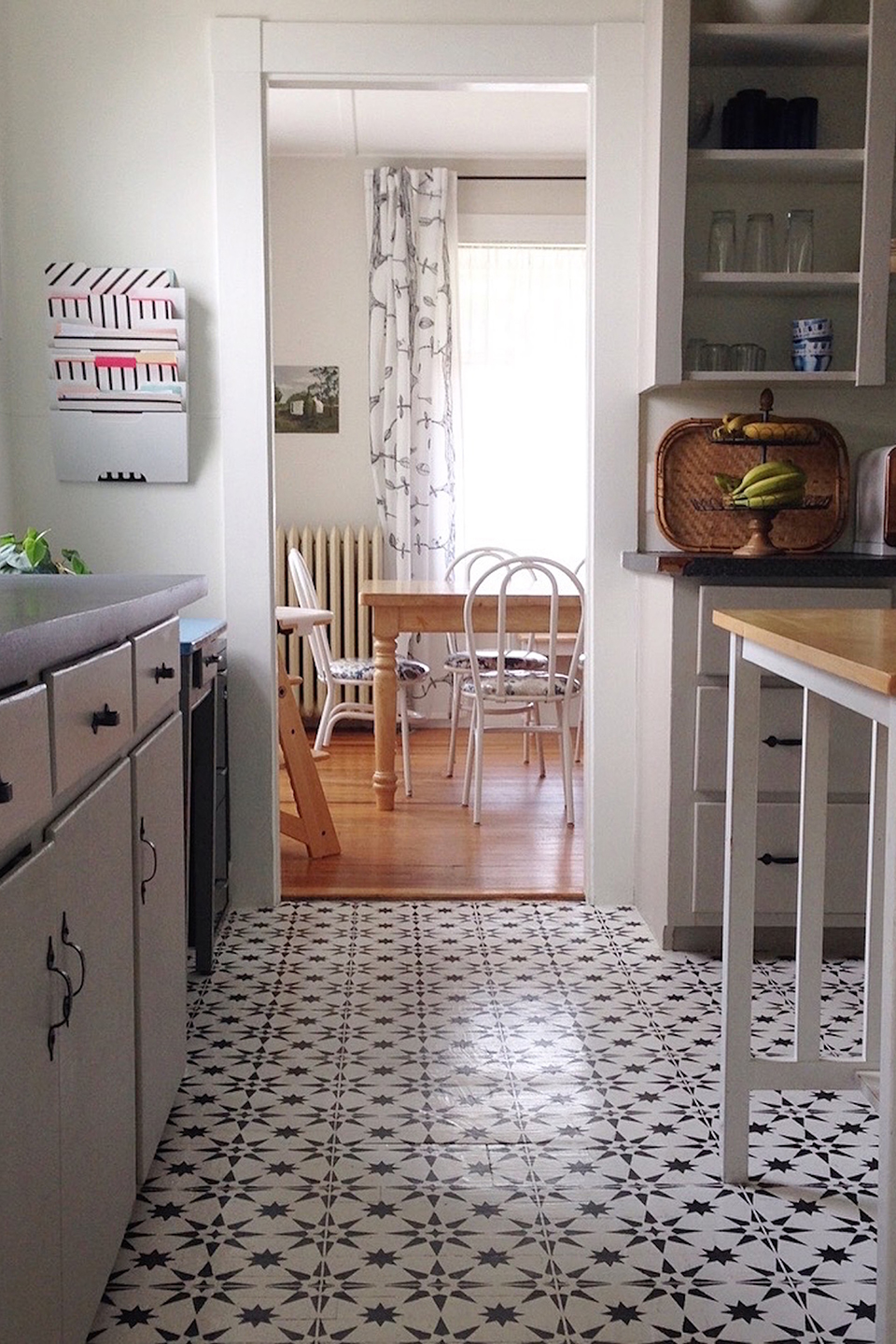 Wood kitchen floor painted white with navy blue stars
