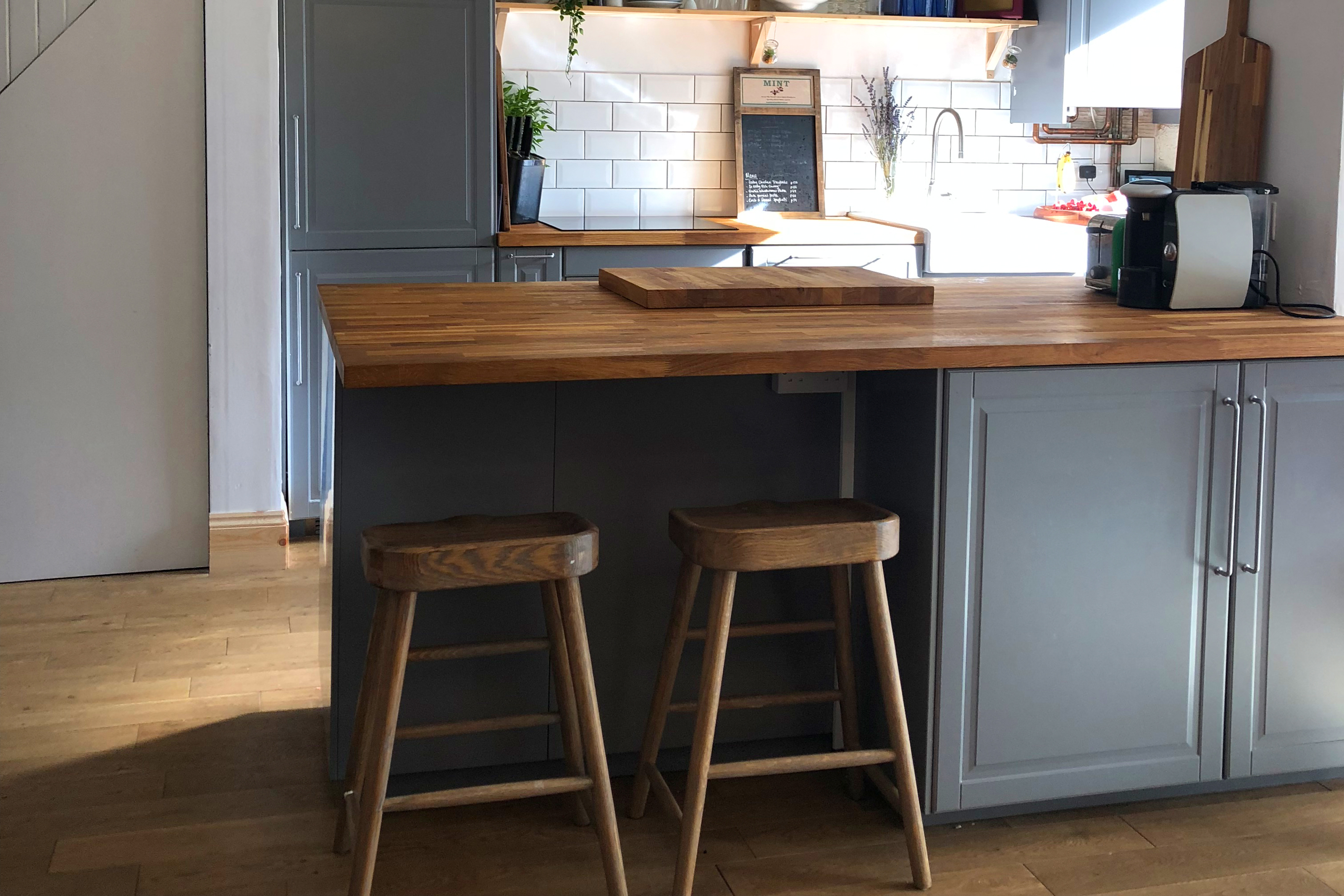 Gray cabinets with new butcher block counter tops
