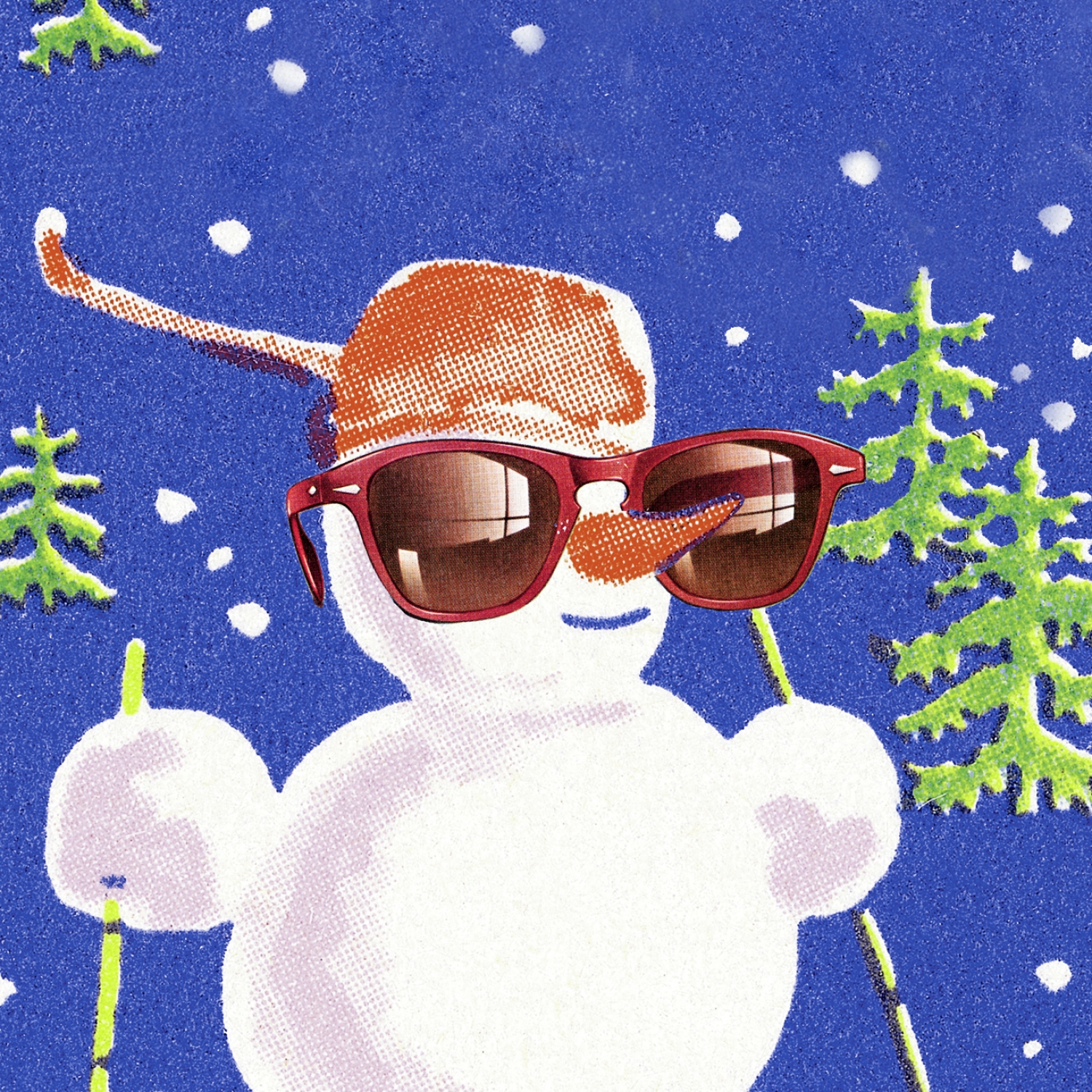 Retro illustration of smiling snowman with sunglasses