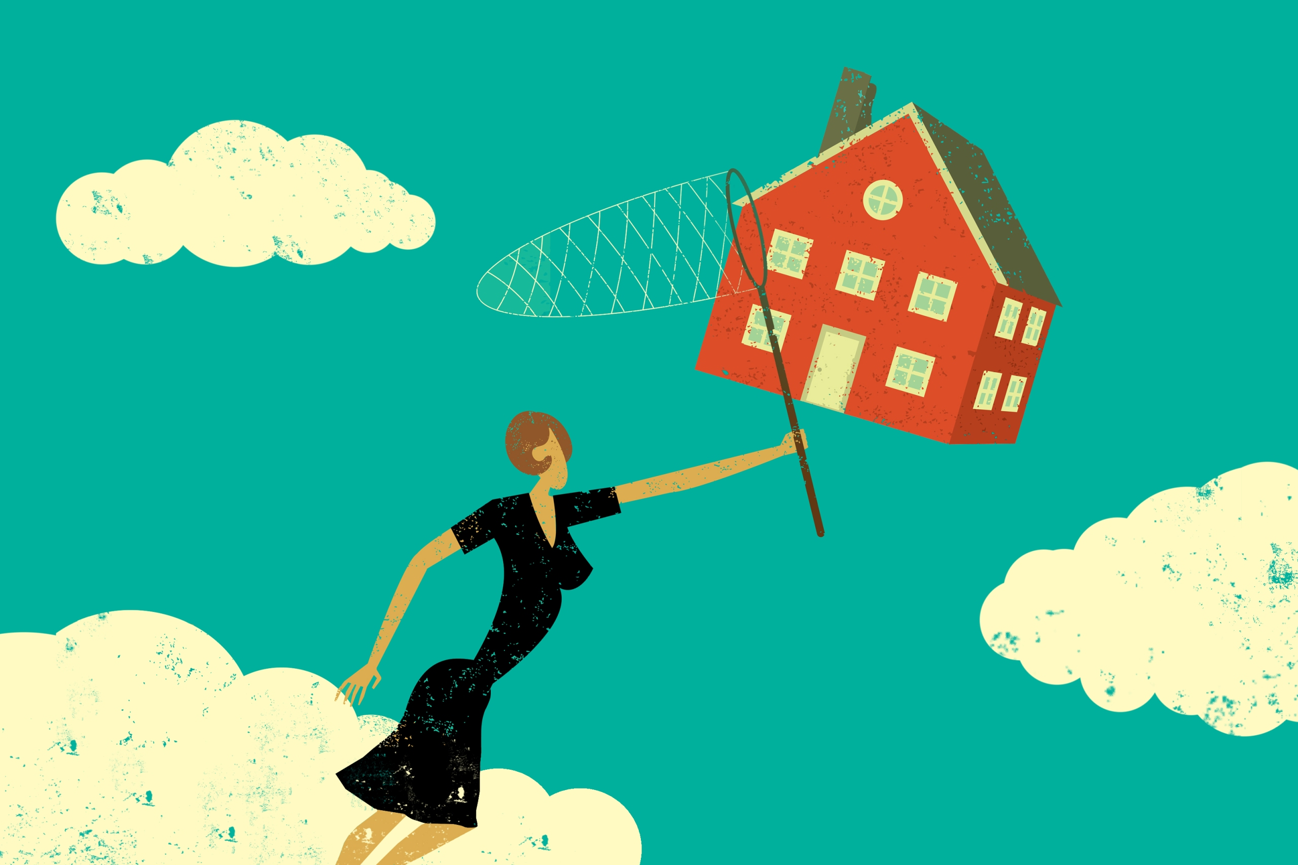 Illustration of woman chasing house with butterfly catcher