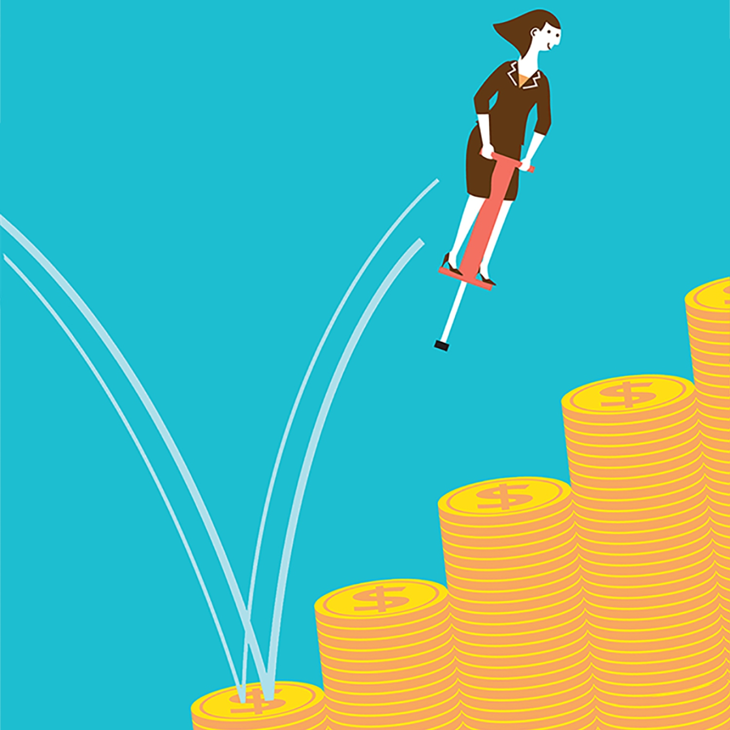 Illustration of woman on pogo stick bouncing on money piles