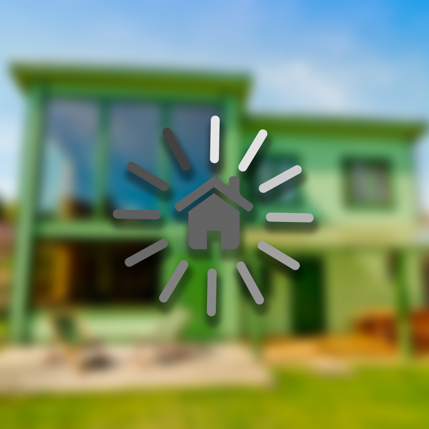 Loading bar circling around house against blurred out home