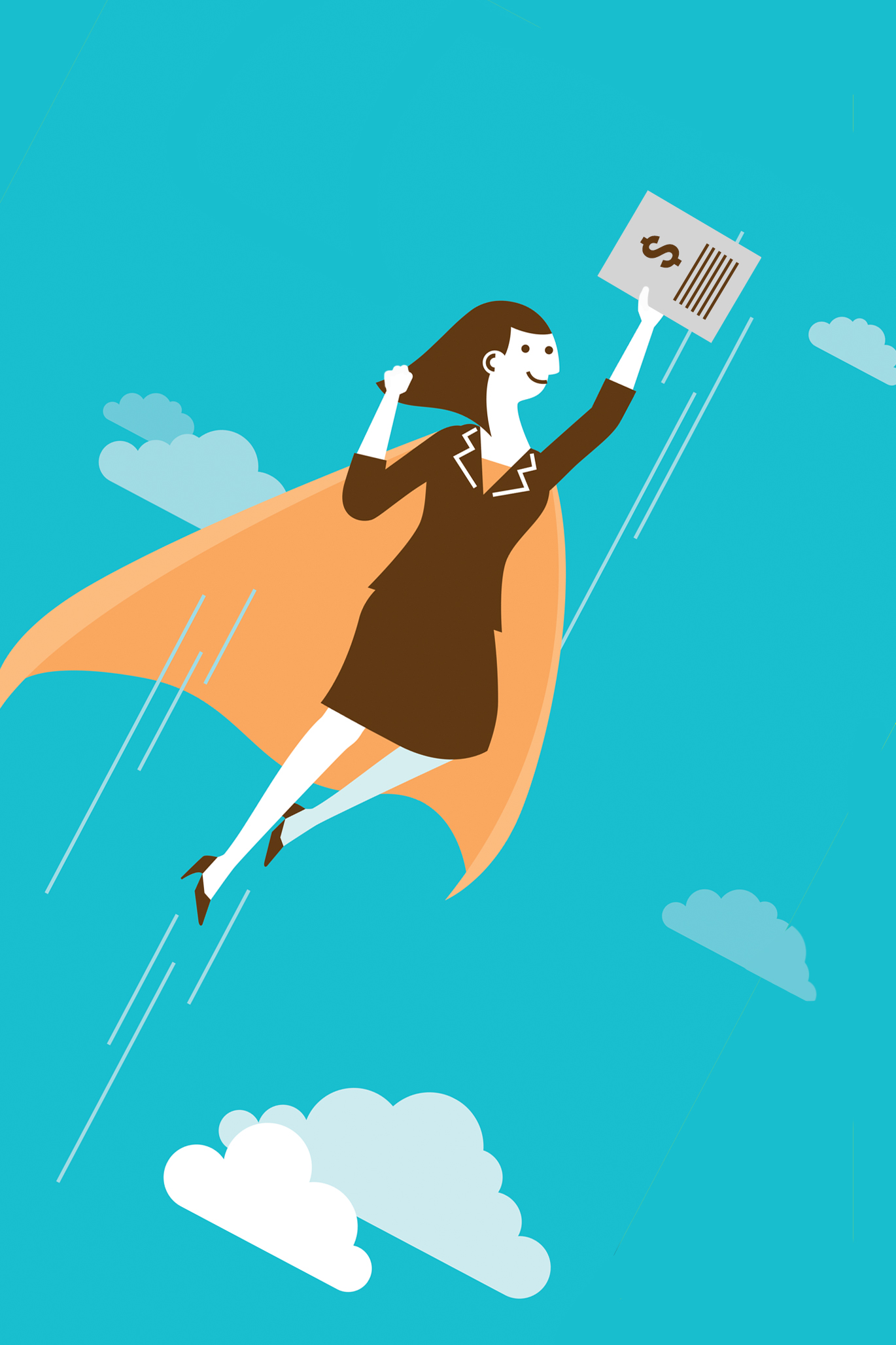 Illustration of woman with cape flying with tax documents