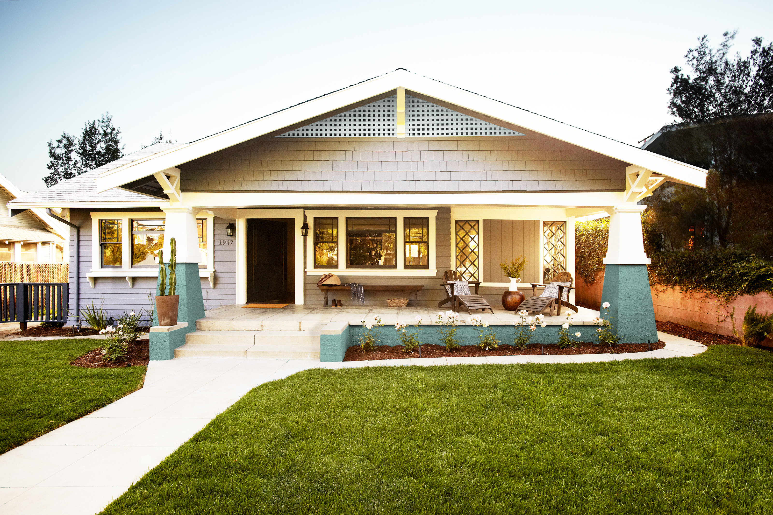 Bungalow with teal porch and stucco columns|Exterior Staging