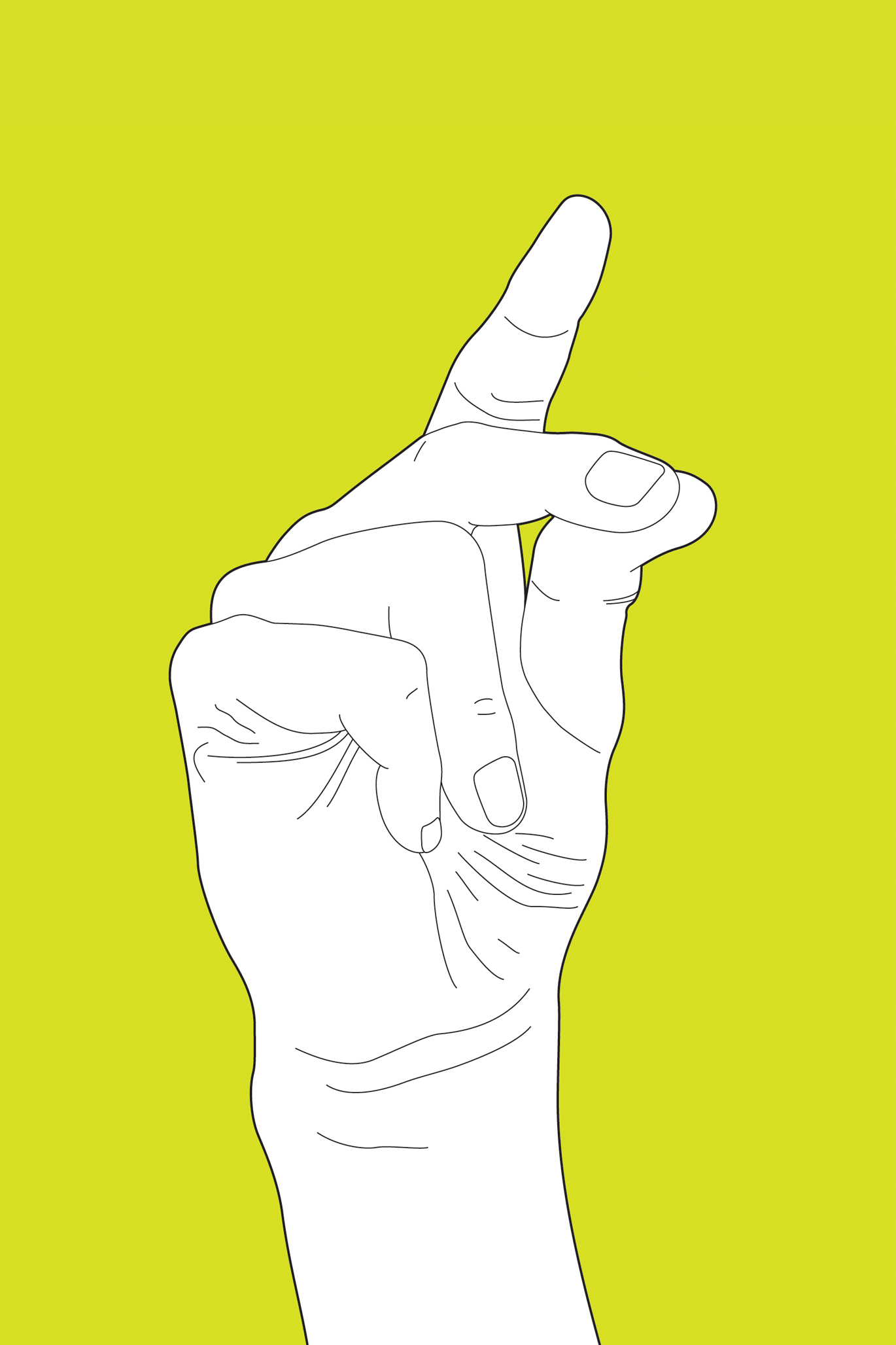 Illustration of hand snapping against yellow-green color