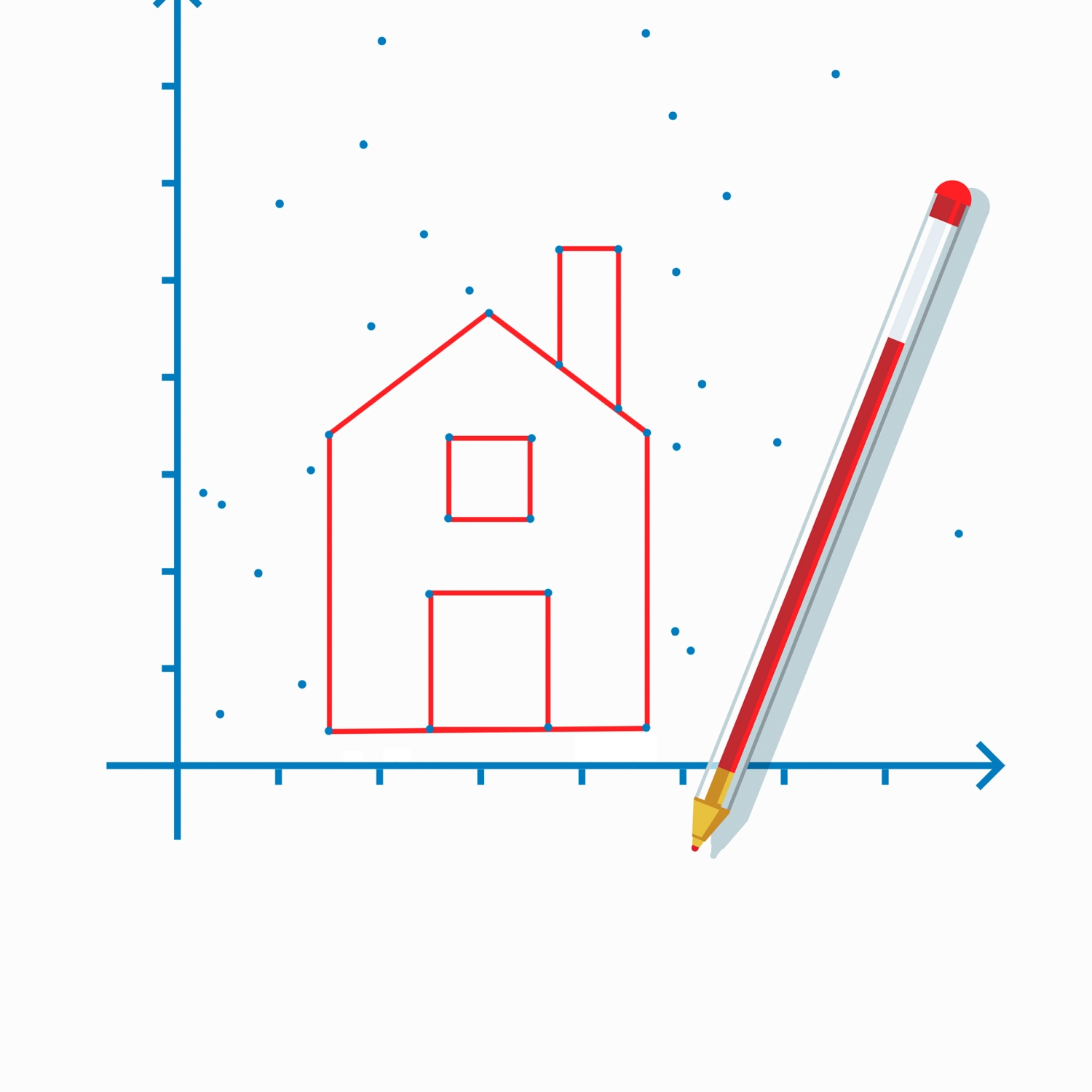 Connect-the-dots of a house with a red pen lying on top