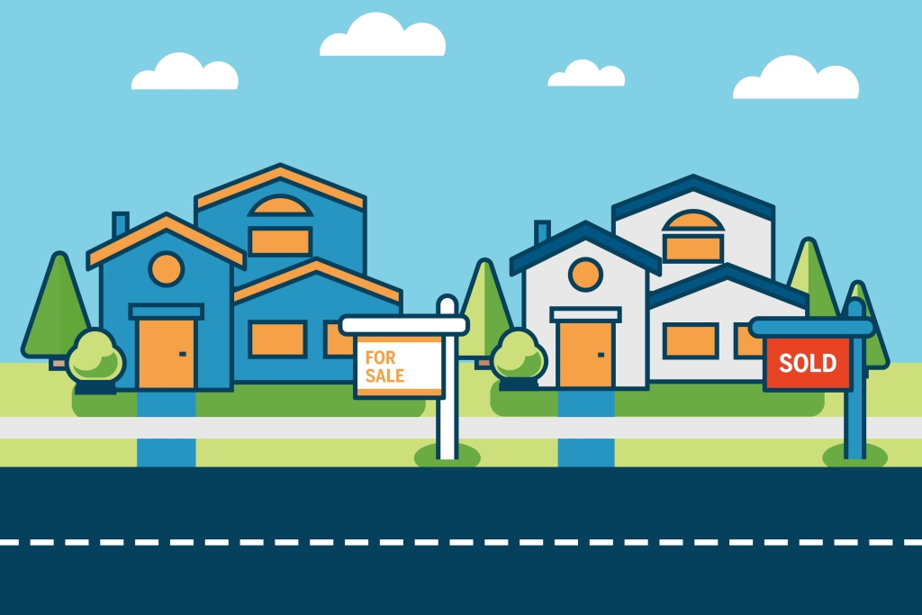 Buying and selling home guide illustration
