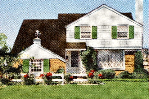Retro halftone image of white, two-story suburban house