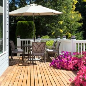 Wood deck outside a home