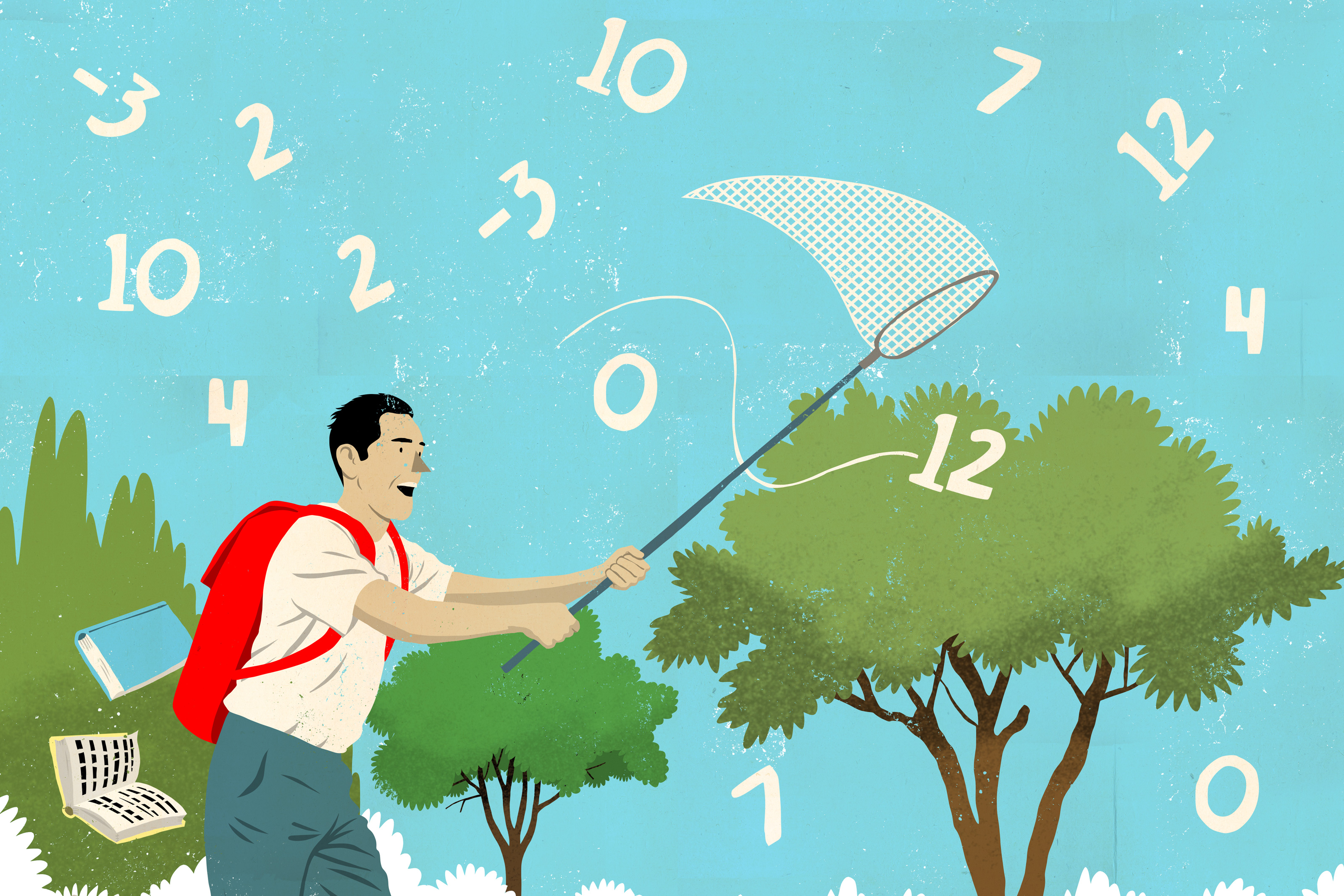 Illustration of man catching numbers with a net