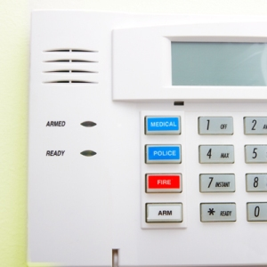 Close-up view of a home security system panel