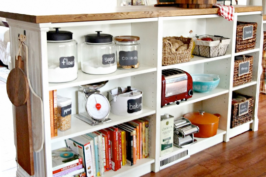 IKEA hacked bookcase as a kitchen island