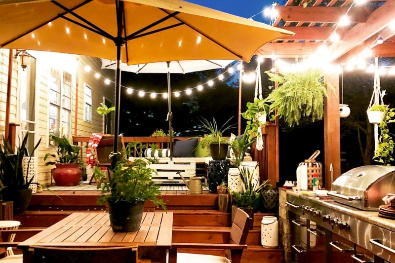 Outdoor kitchen on home backyard deck