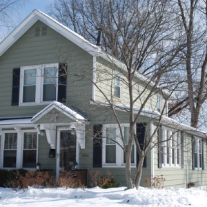 Snowy winter home exterior