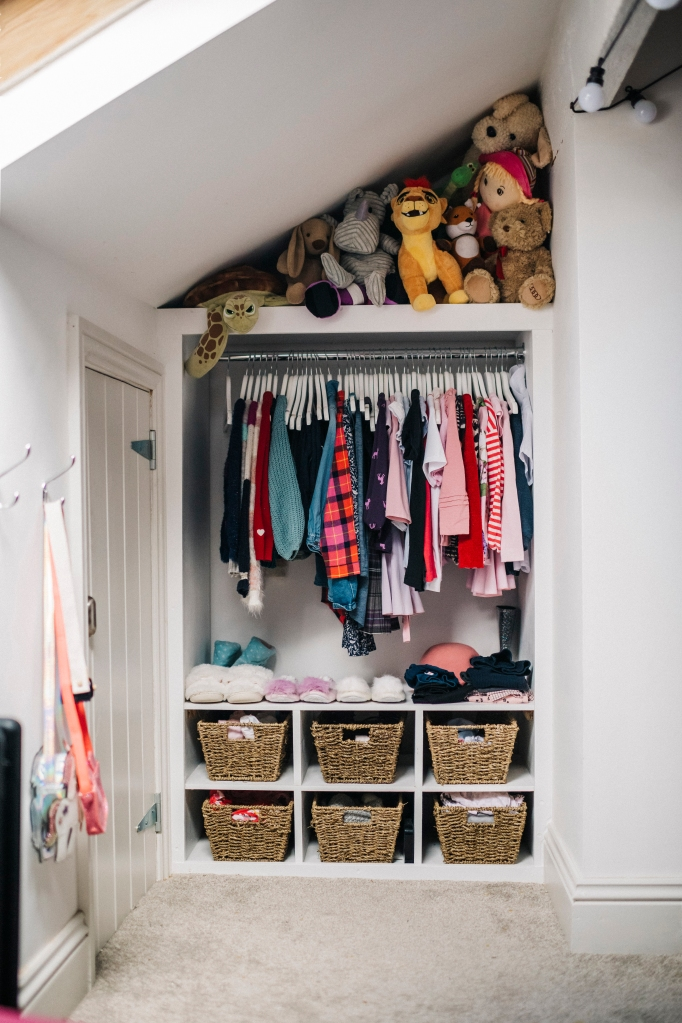 Built-in clothing storage in finished attic