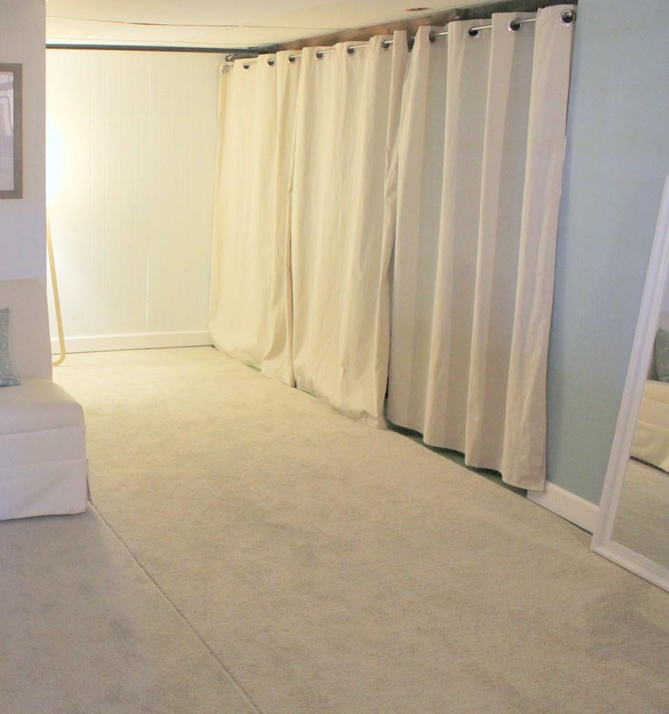 Closed curtain basement storage