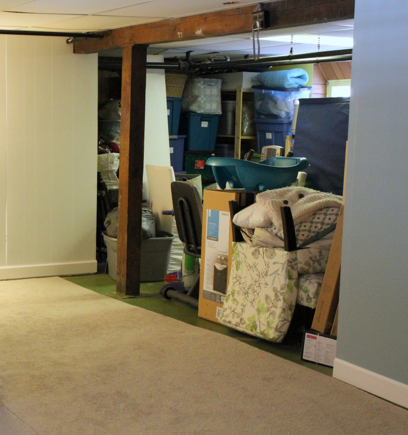 Basement storage area with the curtain open