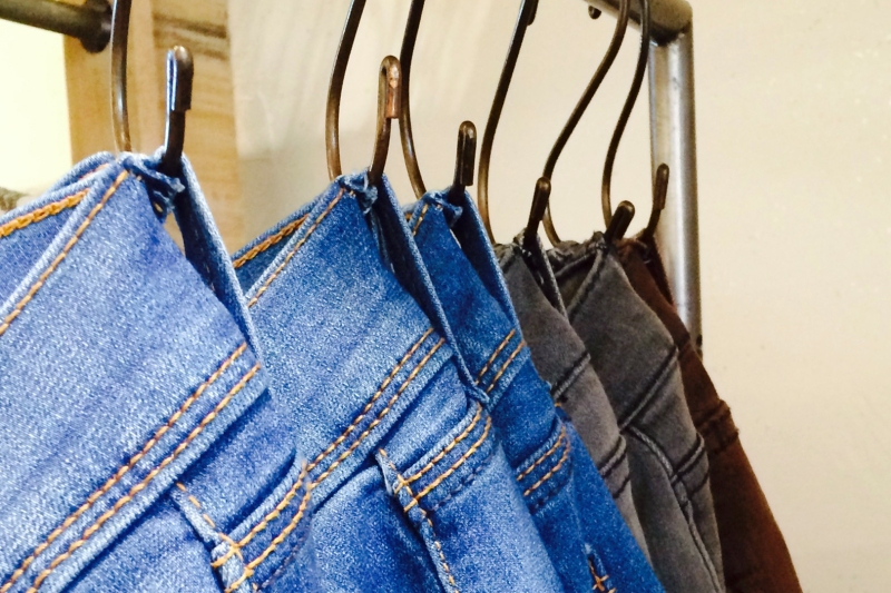 Blue jeans on s-hooks