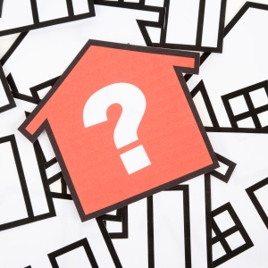 red house with question mark illustration